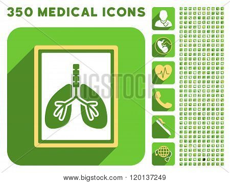 Lungs X-Ray Photo Icon and Medical Longshadow Icon Set