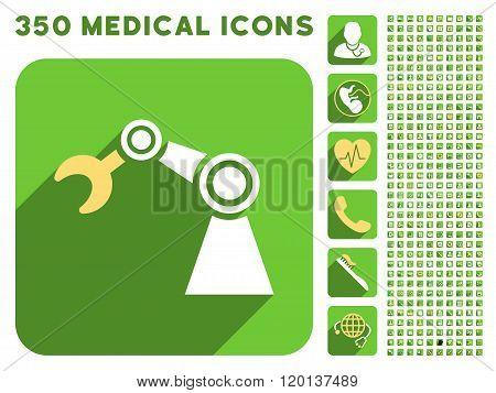 Manipulator Icon and Medical Longshadow Icon Set