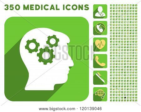 Mind Icon and Medical Longshadow Icon Set