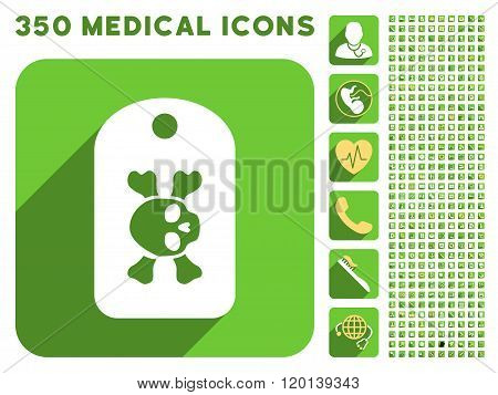 Morgue Tag Icon and Medical Longshadow Icon Set