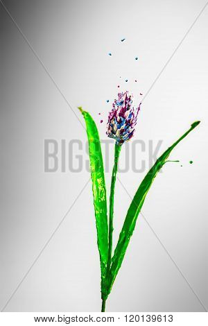 Purple, Blue And White Paint Made Burdock Flower