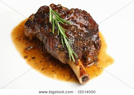 Roasted lamb shank with an onion jus.