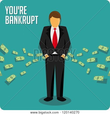 Businessman bankrupt illustration.