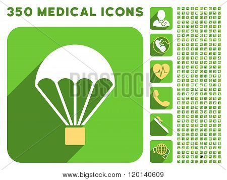 Parachute Flat Icon And Medical Longshadow Flat Icons