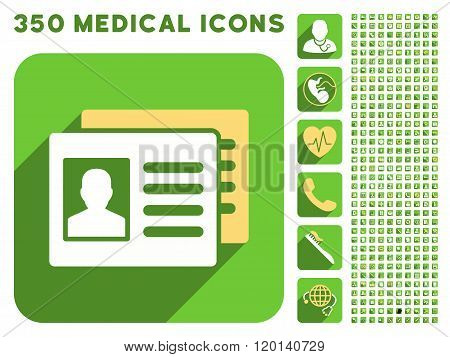 Patient Accounts Icon and Medical Longshadow Icon Set
