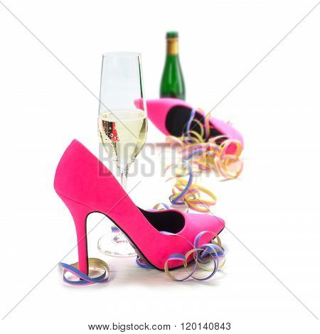 Women's Day Party, Ladies Pink High Heels Shoes, Streamers, Champagne Glass And Bottle, Isolated On