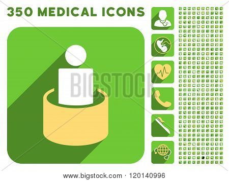 Patient Isolation Flat Icon And Medical Longshadow Flat Icons