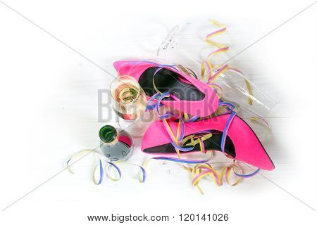 After The Party, Ladies Pink High Heels Shoes Lying On The Floor, Streamers, Champagne Glasses And B