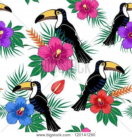 Tropical flowers and toucan pattern