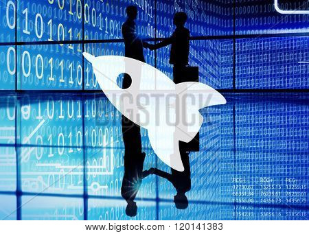 Spaceship Launch Binary Code Business Concept