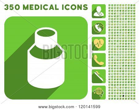 Phial Icon and Medical Longshadow Icon Set