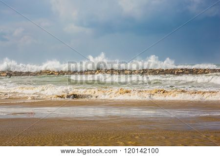 Winter storm in the Mediterranean Sea. Tel Aviv's beaches flooded with seawater