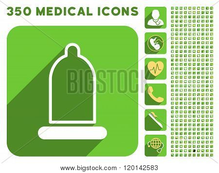 Preservative Icon and Medical Longshadow Icon Set