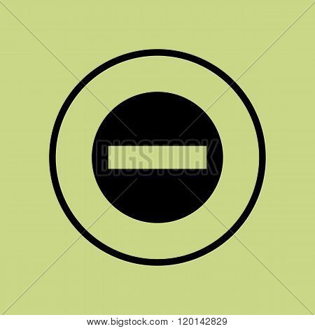No Entry Icon, On Green Background, Circle Border, Dark Outline