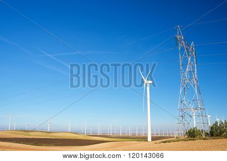 Windmills for electric power production and pylon, Zaragoza Province, Aragon, Spain.