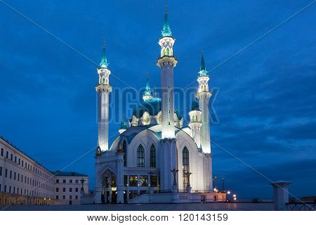 Night View Of The Kul Sharif (qolsherif, Kol Sharif, Qol Sharif, Qolsarif) Mosque In Kazan Kremlin