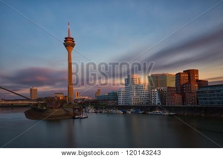 Dusseldorf Cityscape With View On Media Harbor In Sunset, Germany