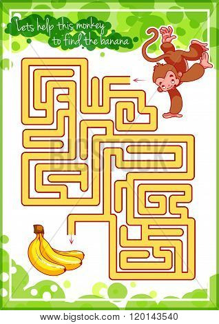 Maze Game For Kids With Monkey And Banana.