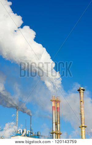 Smokestacks in a paper mill, Zaragoza Province, Spain.