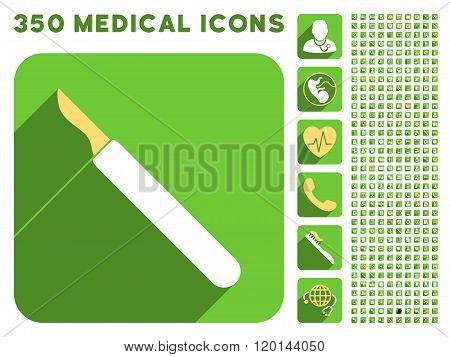 Scalpel Flat Icon And Medical Longshadow Flat Icons