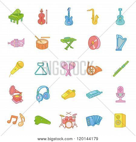 Music color vector icons