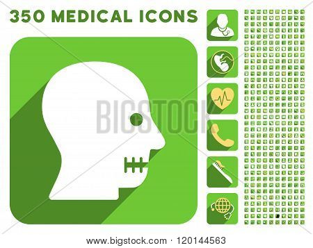 Sewn Mouth Icon and Medical Longshadow Icon Set