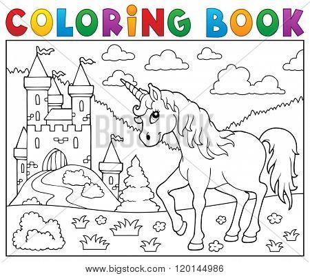 Coloring book unicorn near castle - eps10 vector illustration.