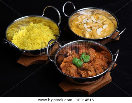 Indian curries and rice.