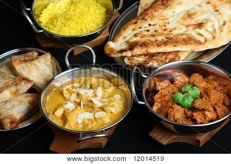 Indian curries and accompaniments