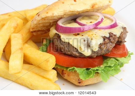Home-made cheeseburger with fries.