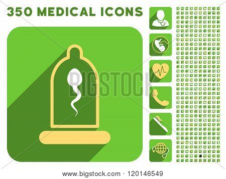 Sperm in Condom Icon and Medical Longshadow Icon Set