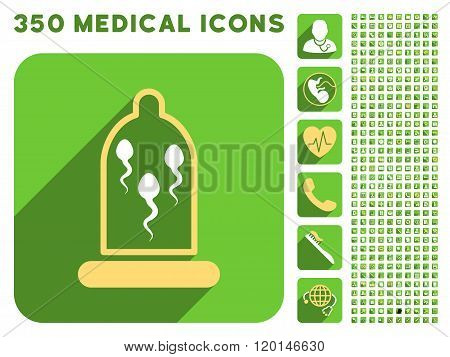 Sperm In Condom Flat Icon And Medical Longshadow Flat Icons