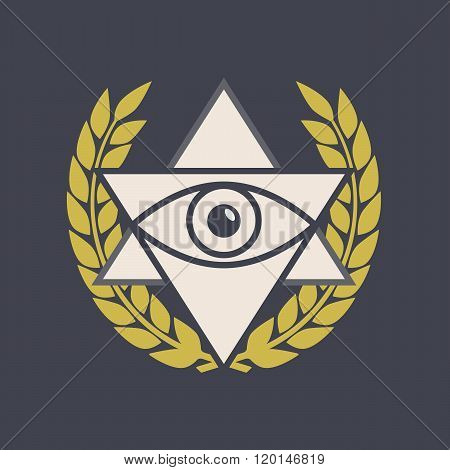 Masonic vector symbol. Masonic sign in flat style. Masonic icon