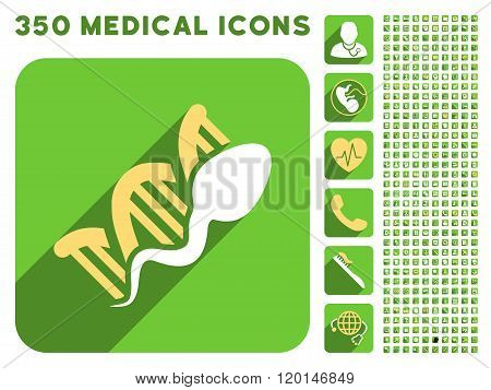 Sperm Replication Icon and Medical Longshadow Icon Set