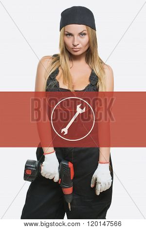 sexy female holding a cordless screwdriver. Repair icon in the background woman.