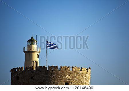 Rhodes flag in marina taken in Rhodes island Greece