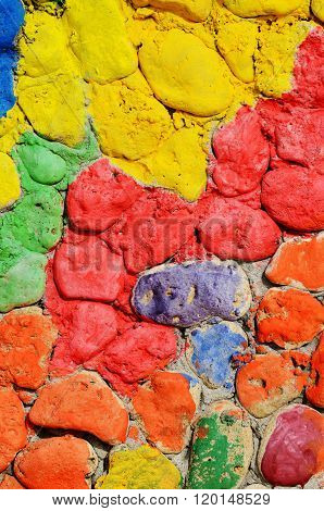 Old Stone Wall Made Of Bright Colourful Masonry,creative Texture For Your Design