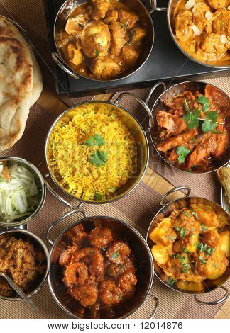 Indian curries and accompaniments.