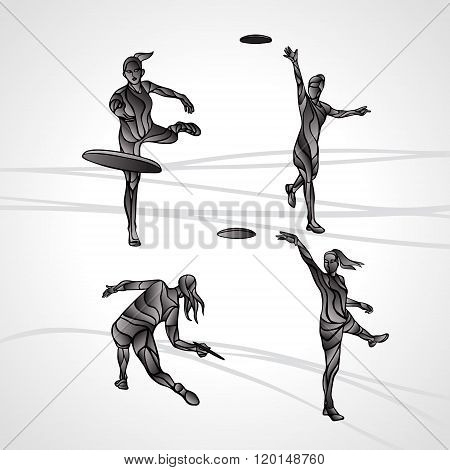 Set Of 4 Female Players Are Throwing Flying Disc