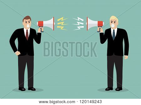 Two Angry Businessman Are Shouting On Each Other With Megaphones
