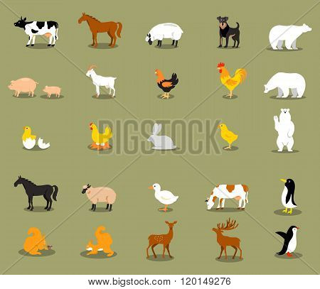 Farm animals set in flat vector style.