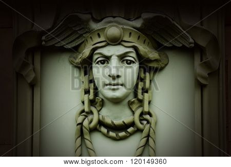Beautiful Head Of Mercury (hermes) ,ancient God Of Commerce In Greek And Roman Mythology