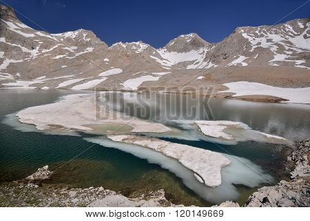 Lake With Ice In Mountains