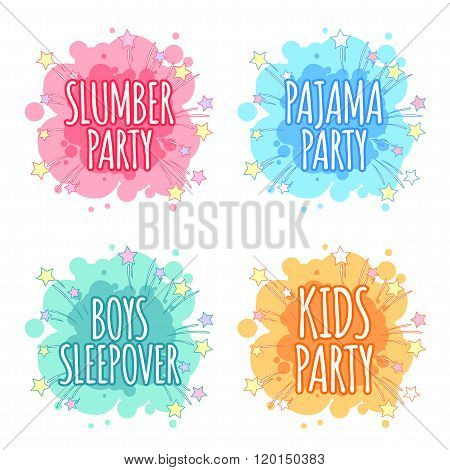 Kids Party Logo. Four Badges For Kids Party In The Spot Shape.
