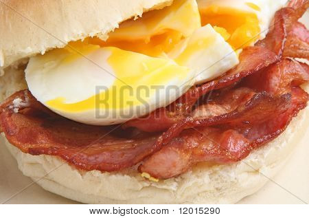 Bacon and poached egg roll.