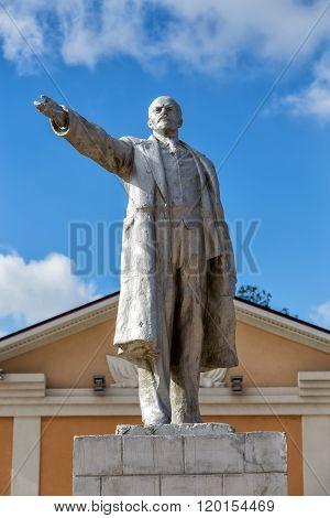 Monument to Vladimir Lenin in urban village Panino, Russia