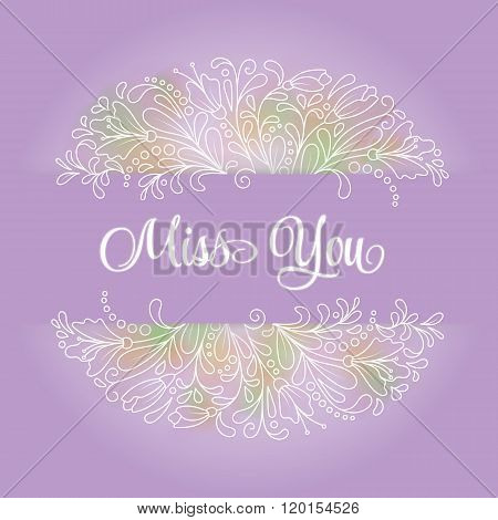 Vector flower wreath of succulents in a watercolor style with sign I miss you. Vintage floral wreath. Decorative floral element for design of invitations, covers, notebooks and other items. Floral wreath