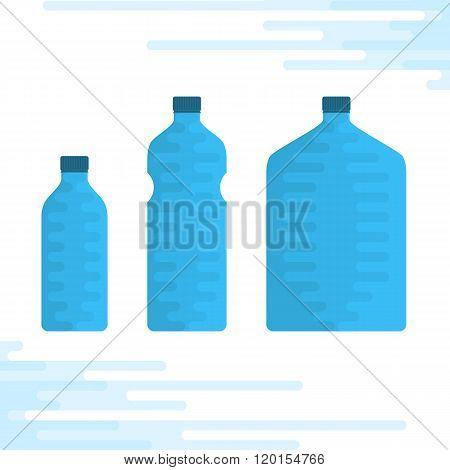 Set of water bottles.