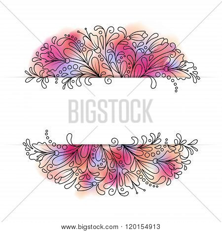 Vector flower wreath of succulents in a watercolor style. Vintage floral wreath. Decorative floral element for design of invitations, covers, notebooks and other items. Floral wreath