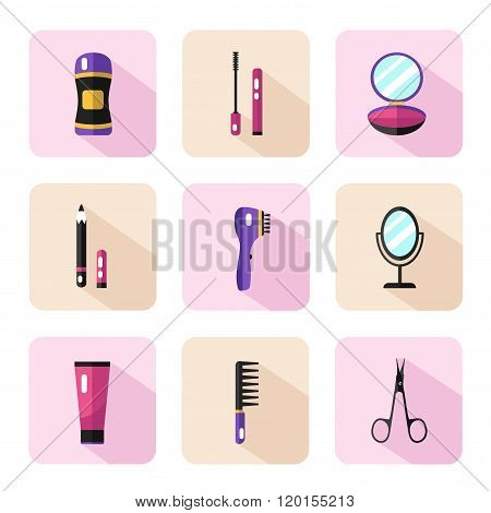Vector icons set of beauty products
